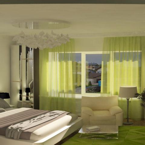 Дизайн интерьера спальни в загородном доме для супружеской пары